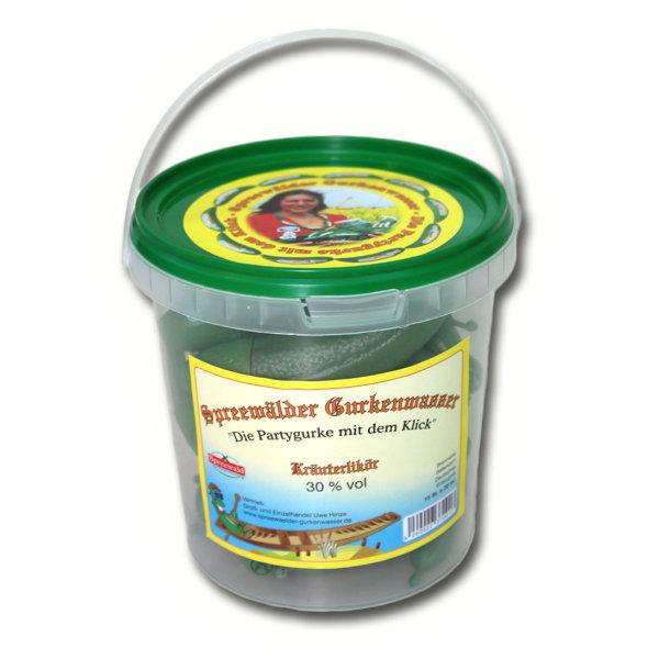 15 x Spreewälder Gurkenwasser Kräuterlikör 30% Vol. im Eimer